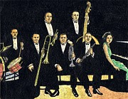 Trombone Drawings Posters - Creole Jazz Band Poster by Mel Thompson