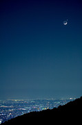 Waxing Moon Posters - Crescent Moon And Venus Poster by Tomosang