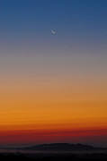 Crescent Moon Digital Art Prints - Crescent Moon before Sunrise Print by Bill Cannon