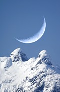 Crescent Moon Photos - Crescent Moon Over The Lions, Canada by David Nunuk