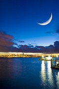 North Vancouver Framed Prints - Crescent Moon Over Vancouver Framed Print by David Nunuk