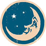 Moon Smiling Prints - Crescent Shaped Moon With A Face Print by Ken Jacobsen