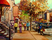 Old Fashionned Delis Framed Prints - Crescent Street Montreal Framed Print by Carole Spandau