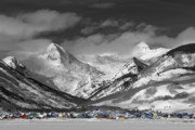 Black-and-white Posters - Crested Butte Winter Fantasy Poster by Dusty Demerson