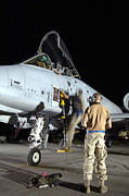 Aviator Posters - Crew Chiefs Assist An A-10 Thunderbolt Poster by Stocktrek Images