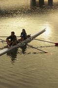 Crew Model Released Rowers Take A Break Print by Phil Schermeister