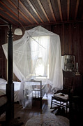 Lynn Palmer Framed Prints - Crib with Mosquito Netting in a Florida Cracker Farmhouse Framed Print by Lynn Palmer