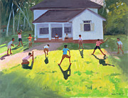 Bat Painting Framed Prints - Cricket Framed Print by Andrew Macara