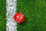 Cricket Framed Prints - Cricket ball on grass from above. Framed Print by Richard Thomas