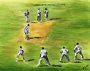 Pitch Painting Posters - Cricket Duel Poster by Richard Jules