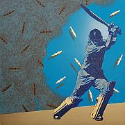Bat Mixed Media Originals - Cricket Fame-2 by Bharat Gothwal