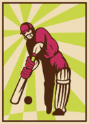 Player Prints - Cricket Sports Batsman Batting Retro Print by Aloysius Patrimonio