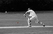Batsman Posters - Cricketer in black and white with red ball Poster by Chris Day
