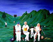 Cricket Paintings - Cricketers by Sandy Wager