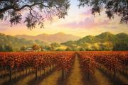 Napa Valley Vineyard Paintings - Crimson and Gold by Patrick ORourke