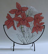 Fused Glass Art - Crimson Blooms by Michelle Rial