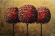 Palette Knife Paintings - Crimson Companions by Christine Krainock