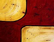 Brown Print Posters - Crimson Gold Poster by Marsha Heiken