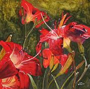 Crimson Lilies Prints - Crimson Light Print by Jean Blackmer