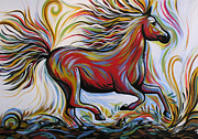 Horse Racing Paintings - Crimson Lightning by Amy Giacomelli