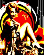 Burlesque Mixed Media Prints - Crimson Moon Print by Chris Andruskiewicz