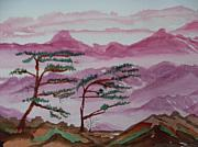 Mountains Paintings - Crimson Mountains  by Warren Thompson