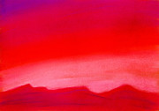 Abstract Landscape Pastels - Crimson Night by Hakon Soreide
