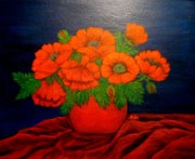 Anke Wheeler Paintings - Crimson Poppies by Anke Wheeler