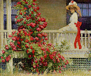 Veranda Paintings - Crimson Rambler by Philip Leslie Hale