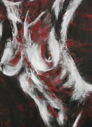 Nudes Drawings Originals - Crimson Red by Carmen Tyrrell