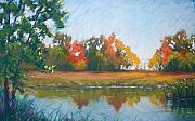 Morning Pastels Originals - Crisp Autumn Morning Spears Woods by Christine Kane
