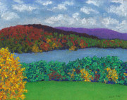 Massachusetts Pastels Posters - Crisp Kripalu Morning Poster by Anne Katzeff