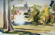 Autumn Trees Painting Prints - Crisp Water Fountain at the Baptist Home  Print by Kip DeVore