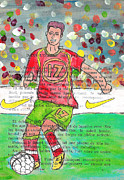 Athletes Drawings Framed Prints - Cristiano Ronaldo Framed Print by Jera Sky