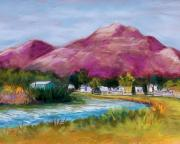 Landscapes Pastels Metal Prints - Cristo Rey from the Valley Metal Print by Candy Mayer