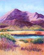 River Pastels Prints - Cristo Rey in Autumn Print by Candy Mayer
