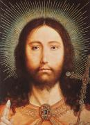 Bible Painting Prints - Cristo Salvator Mundi Print by Quentin Massys