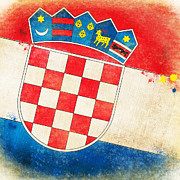 Antique Map Pastels Metal Prints - Croatia Flag Metal Print by Setsiri Silapasuwanchai