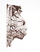 Sepia Ink Drawings - Croation Gargoyle by Sarah Zilbershteyn