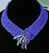 Crystals Jewelry - Crocheted Purple Necklace by Diana Dearen