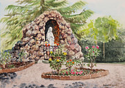Churches Painting Originals - Crockett California Saint Rose Of Lima Church Grotto by Irina Sztukowski