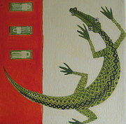 Crocodile Paintings - Crocodile by Pat Barker