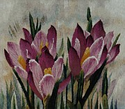 Hand-weaving Tapestries - Textiles - Crocuses by Jozef Jakubczyk