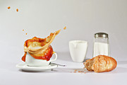 Food And Drink Art - Croissant  And Coffee Splash by by Thomas Schaller