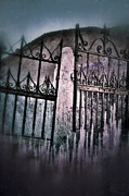 Haunted Hills Posters - Crooked Cemetery Gates Poster by Jill Battaglia