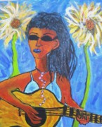 Guitar Painting Originals - Crooked Guitar by Ron Klotchman