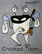 Tooth Mixed Media Prints - Crooked Tooth Print by Anthony Falbo