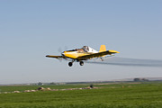 Cindy Framed Prints - Crop Duster Flying Over Farm  Framed Print by Cindy Singleton