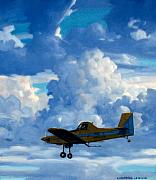 Airplanes Prints - Crop Duster Print by Kevin Lawrence Leveque