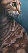 Cats Painting Metal Prints - Cropped Cat 3 Metal Print by Carol Wilson